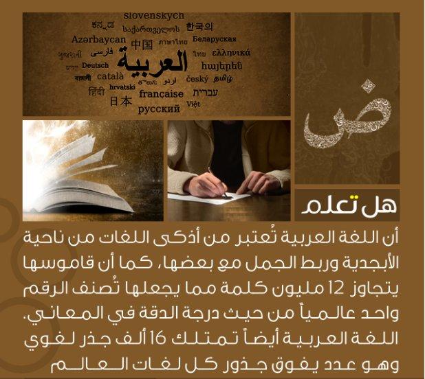 اللغة العربية تُعتبر من أذكى اللغات كما أن قاموسها يتجاوز 12 مليون كلمة مما يجعلها تصنف الرقم واحد عالمياً من حيث درجة الدقة... https://t.co/WLipRjqsSW