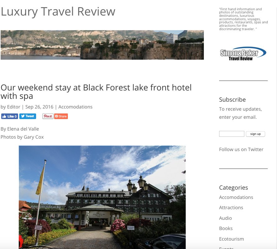 Our weekend stay at Black Forest lake front hotel with spa