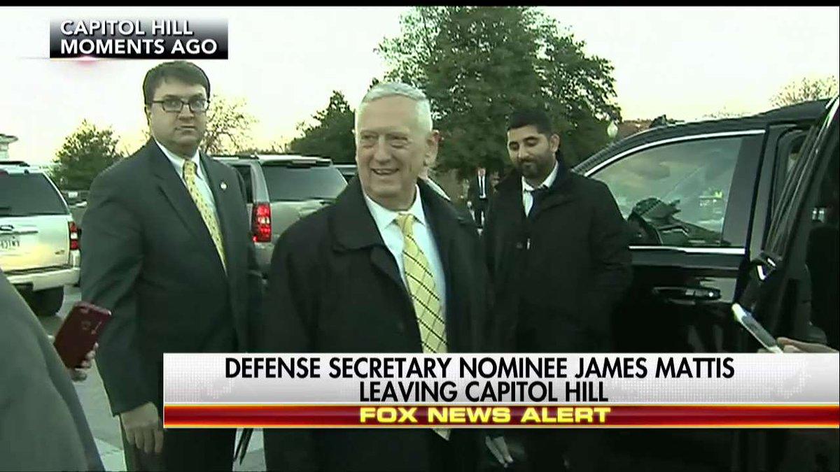News Alert Defense Secretary nominee James Mattis leaving Capitol Hill.