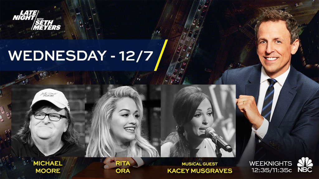 RT @LateNightSeth: TONIGHT! Seth welcomes @MMFlint, @RitaOra and musical guest @KaceyMusgraves! https://t.co/B9zzftVGd2