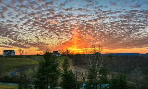 Spectacular solar pillar at sunset today in Middletown MD seen by Annie Main