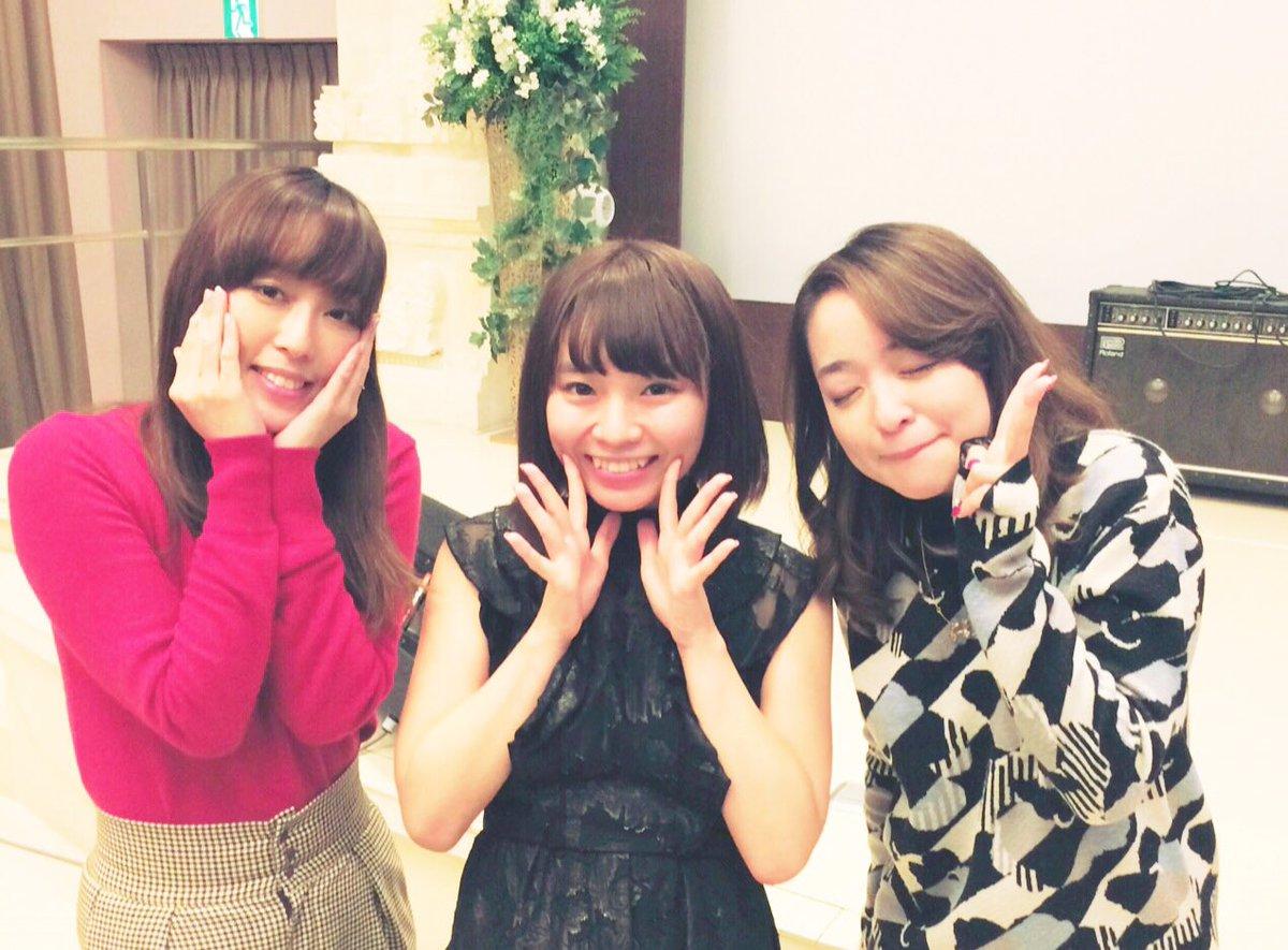 アッコ役の潘めぐみさん、ダイアナ役の日笠陽子さん、ED曲を歌う大原ゆい子さんとお写真!✨やさしく笑顔でお話してくださり、