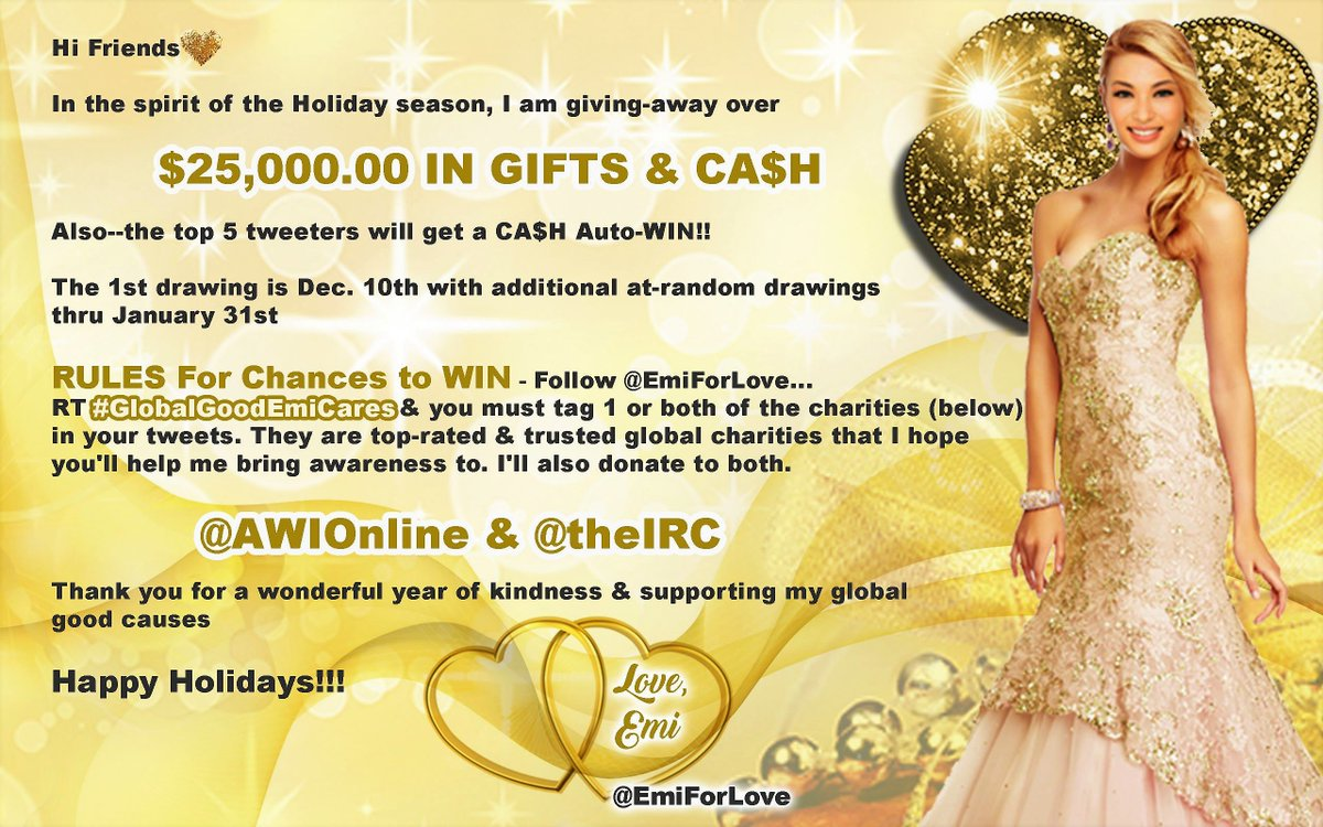 PLEASE RT & Follow: @EmiForLove join in her effort !!  @AWIOnline @theIRC  #GlobalGoodEmiCares     https://t.co/qywnneEf5D