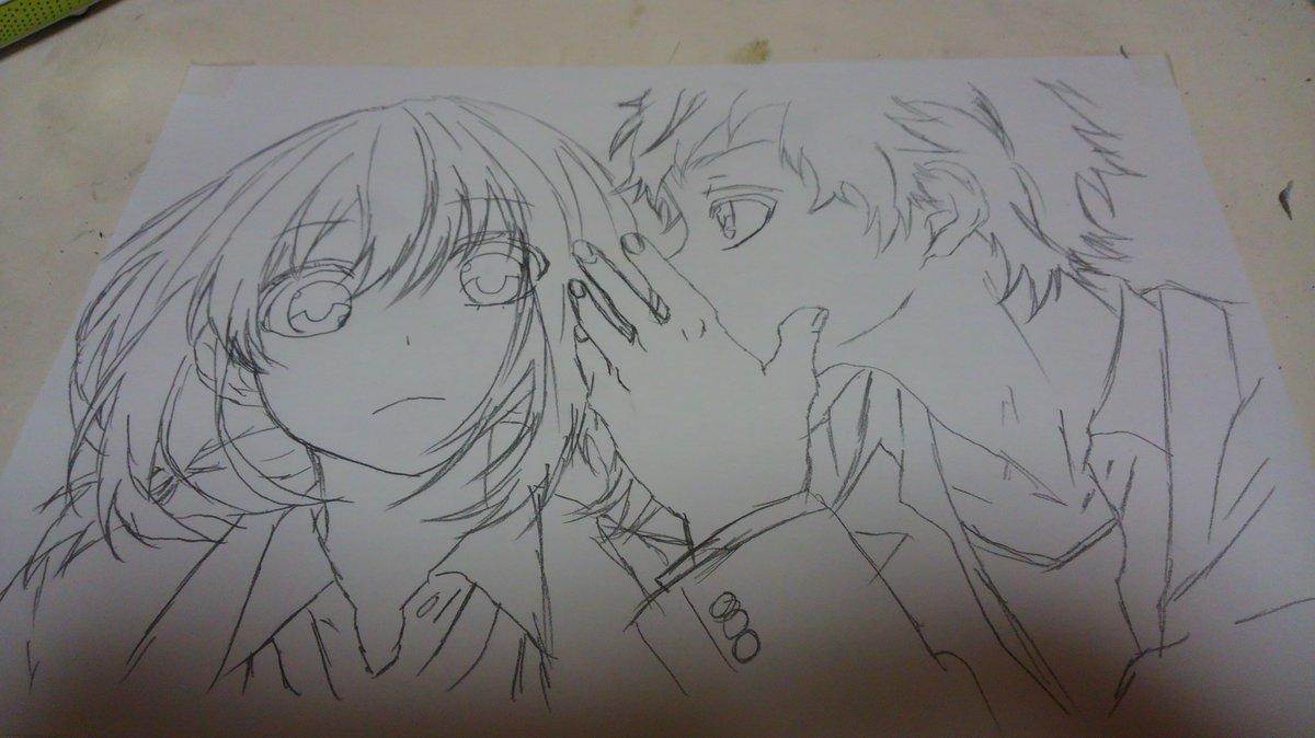 久しぶりの模写下書き完成   咲-saki-のキャラ描こう