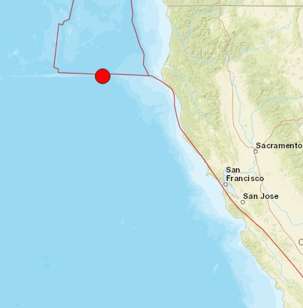 Map Red Dot Shows Where Earthquake Struck Off Coast Of Ferndale Calif Atktvu