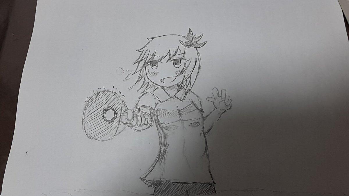 卓球をするイチノミヤちゃん描きました!ヾ(´∀`ヾ)今期のアニメでは灼熱の卓球娘が好きです