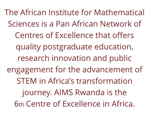 You can read more about AIMS and the new Rwanda campus here: https://t.co/fGMAfhmPym https://t.co/cFzV0KckY2