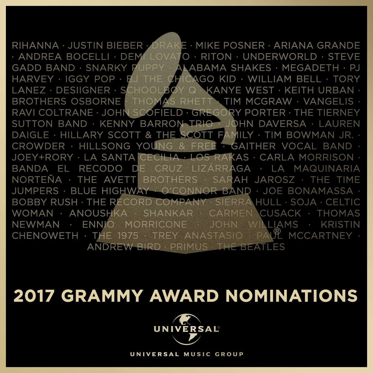 Congrats to all of our writers and artists nominated for the 59th Annual #GRAMMYs! #MusicIsUniversal https://t.co/3NXXUBeMYQ