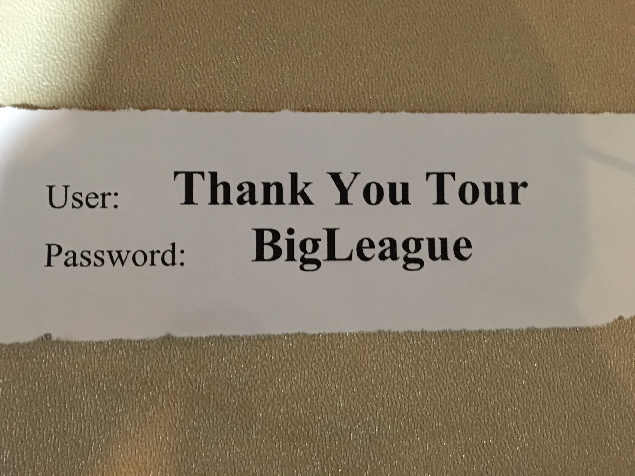 The press wifi code at Trump's Thank You Rally in Des Moines.  'Bigly' must have been taken. https://t.co/HA39LBQPMG