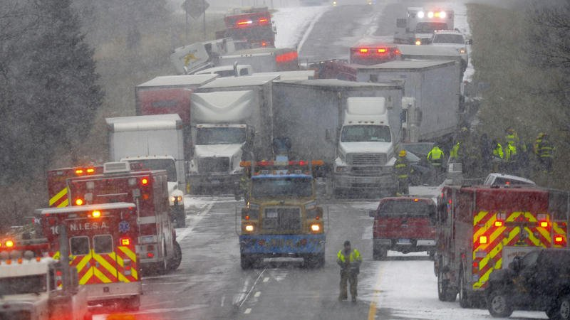 3 killed, 11 injured in 40-vehicle pileup on slick Michigan interstate