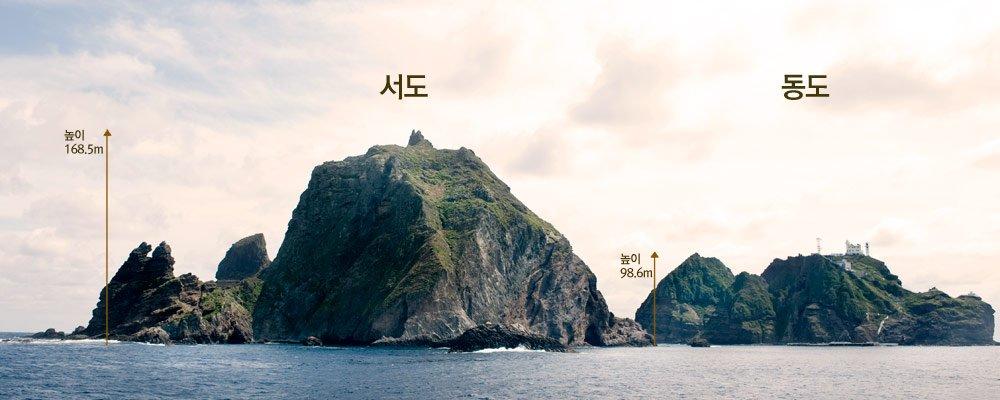 동도와 서도의 높이 168.5m // 98.6m ! 유디치 광복절 이벤트