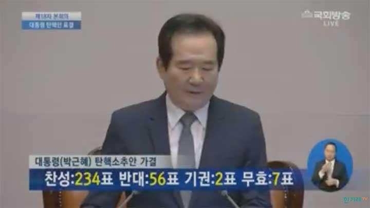 [속보] 국회, 박근혜 대통령 탄핵 가결…찬성 234표 반대 56표 기권 2표 무효 7표 박근혜 대통령 즉각 업무정지