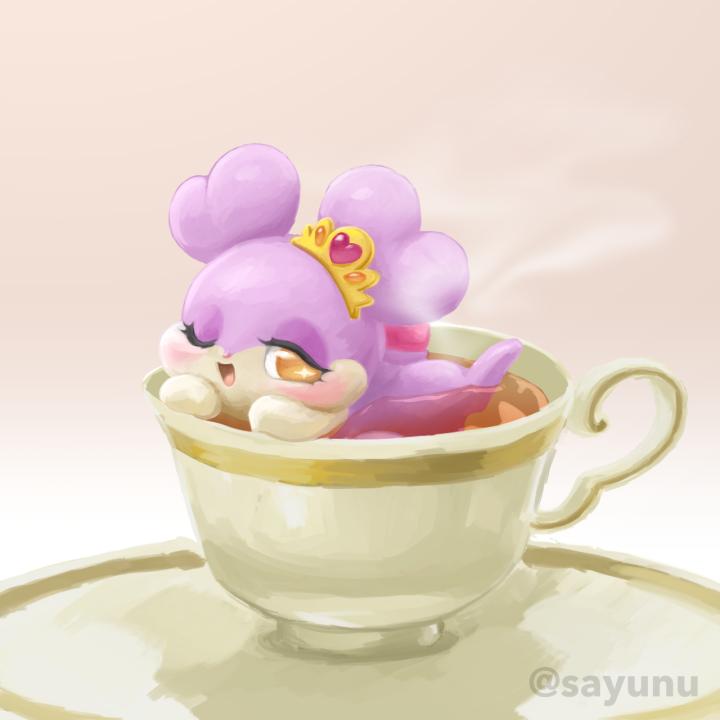 キラリス味の紅茶の絵を描きました。シッポの口紅が混ざってないといいけど。#cocotama