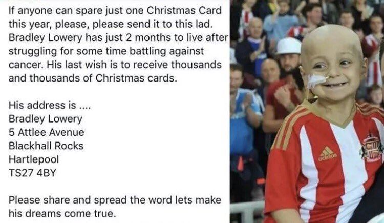 Please add another name to your Xmas card lists this year. It's for a very special little boy. ❤️ https://t.co/WjXBUFboJY