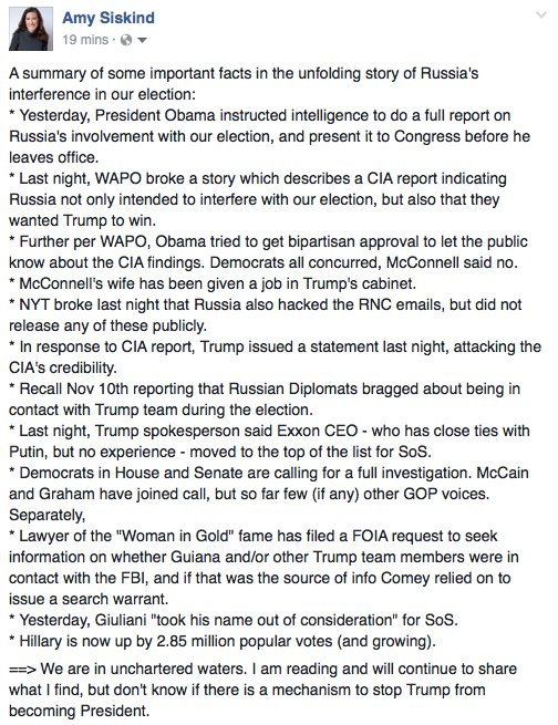 A summary of some important facts in the unfolding story of The Russian interference in our election