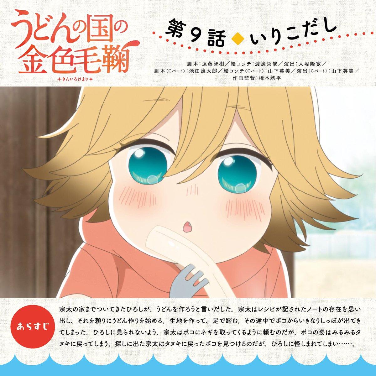 【放送情報:うどんの国の金色毛鞠】西日本放送では、このあと7:00より第9話「いりこだし」放送です!今回は、うどん屋の息