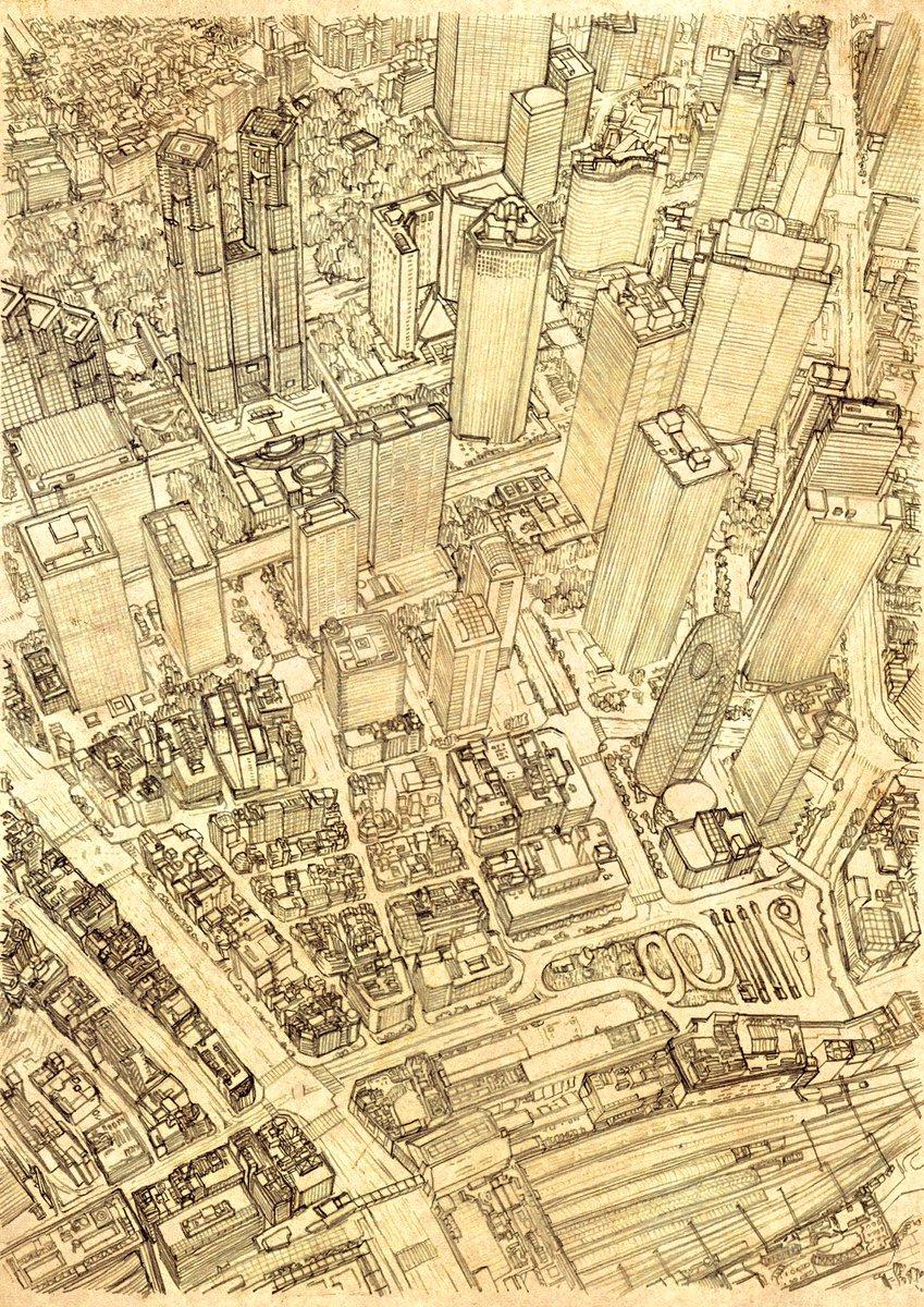 完成しました!東京、新宿の鳥瞰図です。あまり知らない土地を描くということで時間がかかってしまいましたが満足です!こちらは