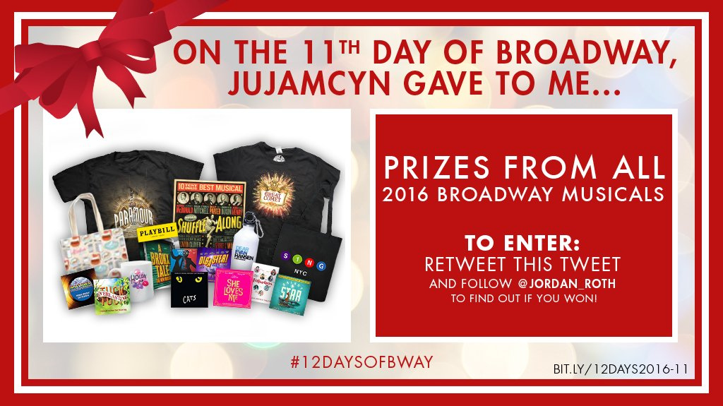 On the 11th day of #12DaysofBway: Follow & RT to win prizes from ALL 2016 Broadway musicals! https://t.co/QhhhLYnZWl