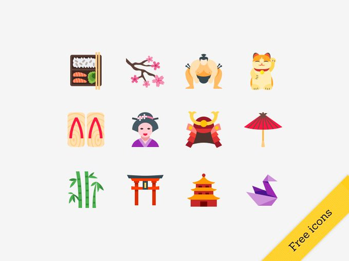 Free Japanese icons  free freebie icons japan flat