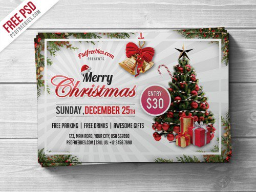 Merry Christmas Party Flyer PSD Template Flyers Print freepsd psd freebie download