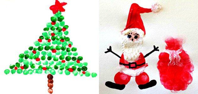 6 #Manualidades de #Navidad con huellas de dedos para hacer con preescolares