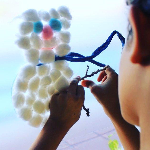 Facil y divertido muñeco de nieve. #manualidades con #algodon