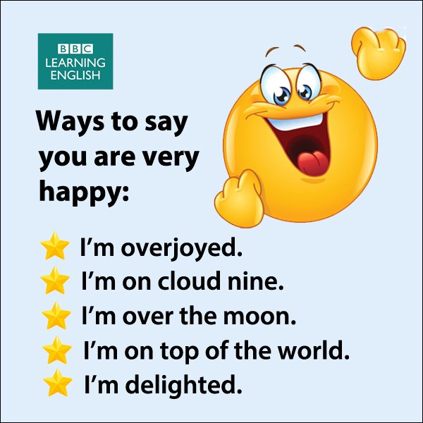 Phrases for when you are very #happy. #Share them with people who make you feel this way #learnenglish #vocabulary https://t.co/hU59iGjMry
