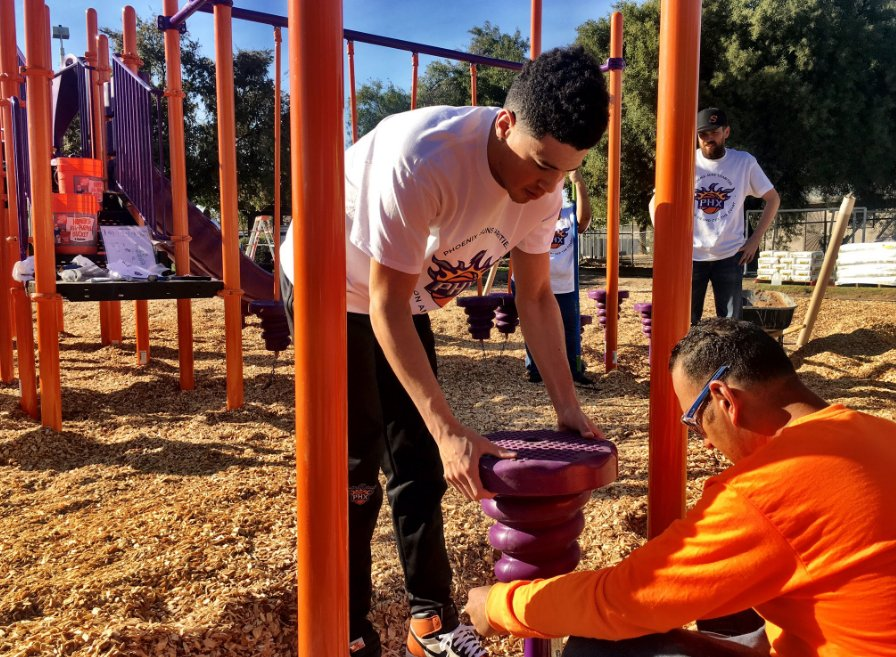 @DevinBook Thanks for helping to build a playground. These kids are gonna love it! #SunsAssist #playmatters https://t.co/9BWBpmVQms