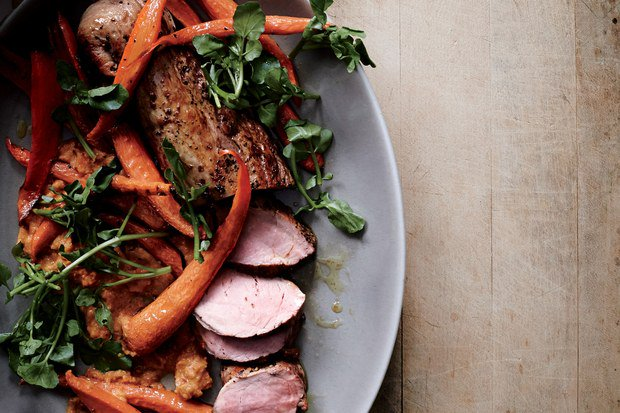Roast Pork Tenderloin with Carrot Romesco