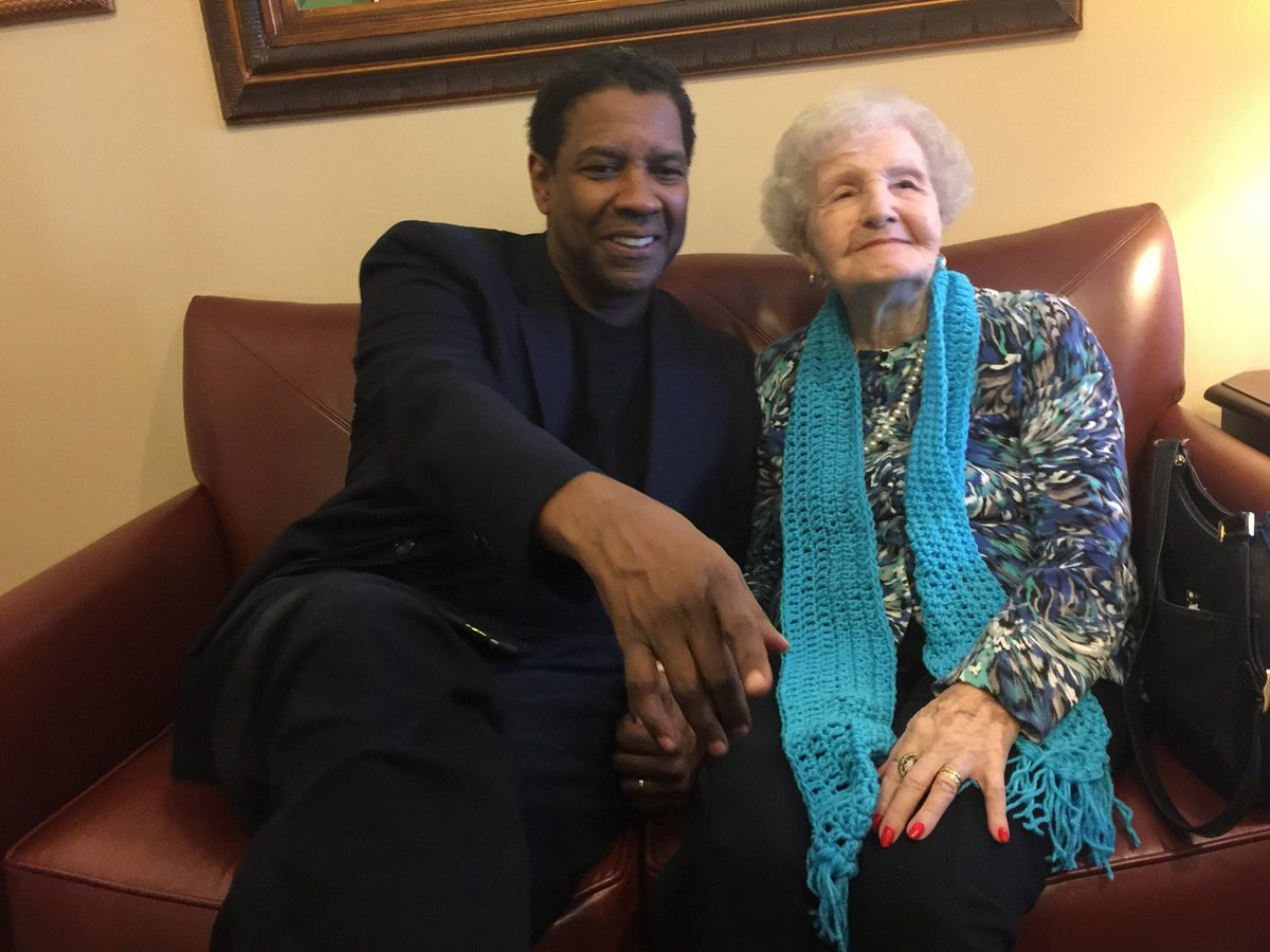Denzel Washington surprises hometown librarian for her 99th