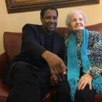 Denzel Washington visits childhood librarian for her 99th