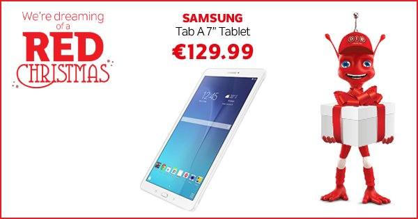 "Struggling to find the perfect gift? Get the Samsung Tab A 7"" Tablet for only €129.99! https://t.co/cZzS4QsBnO https://t.co/JRh7EwrW7q"