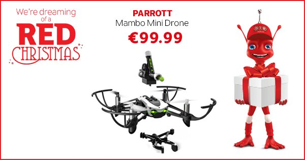 We all love a Christmas surprise & the Parrot Drone is full of surprises - now only €99.99! https://t.co/uPb0RX7yiV https://t.co/sCt4RmnFSM