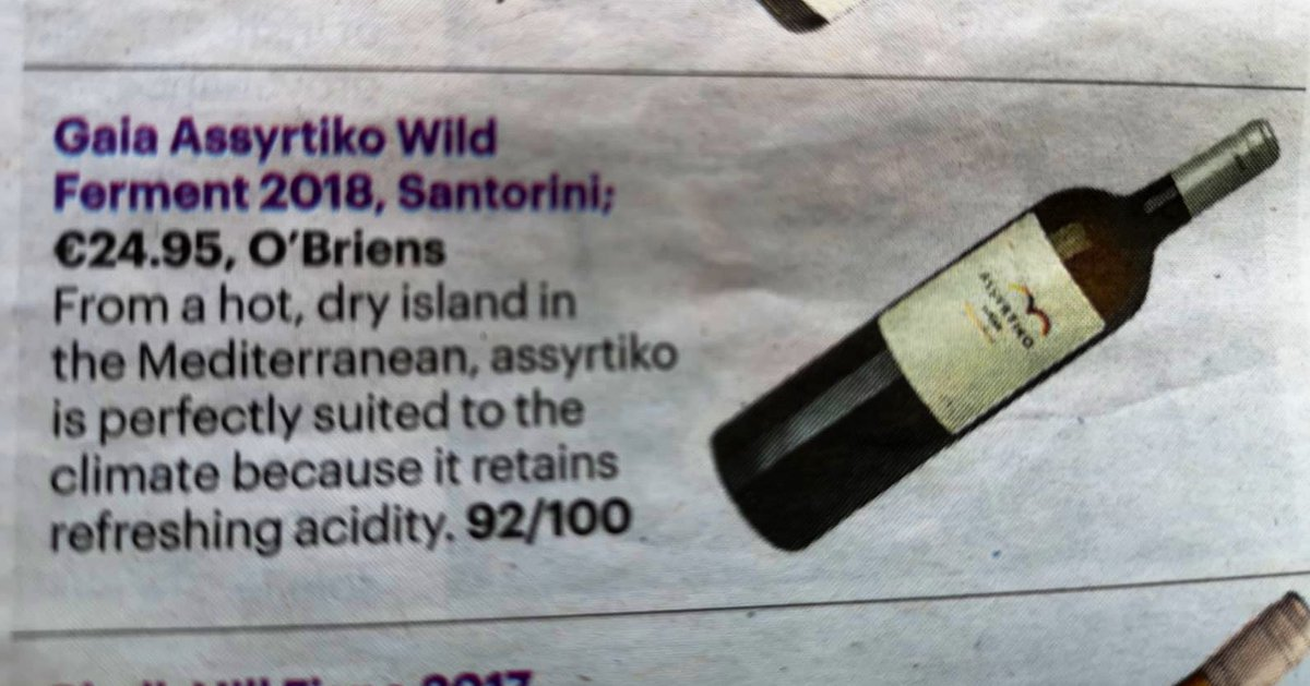 We love 💕 this @GaiaWines Wild Ferment Assyrtiko. Thanks for the great recommendation @winerepublic: 92POINTS! https://t.co/fc9xZpm0rw