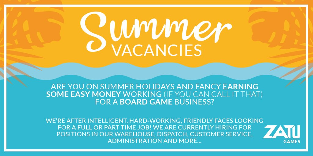 SCHOOL LEAVERS (AND SIXTH FORMERS), we're talking to you! We've got loads of vacancies (Part time and full time) for you over the summer! Email HR@Zatu.co.uk if you're interested.... #ZatuGames #SummerJobs #Jobs https://t.co/0iY7bqBxZj