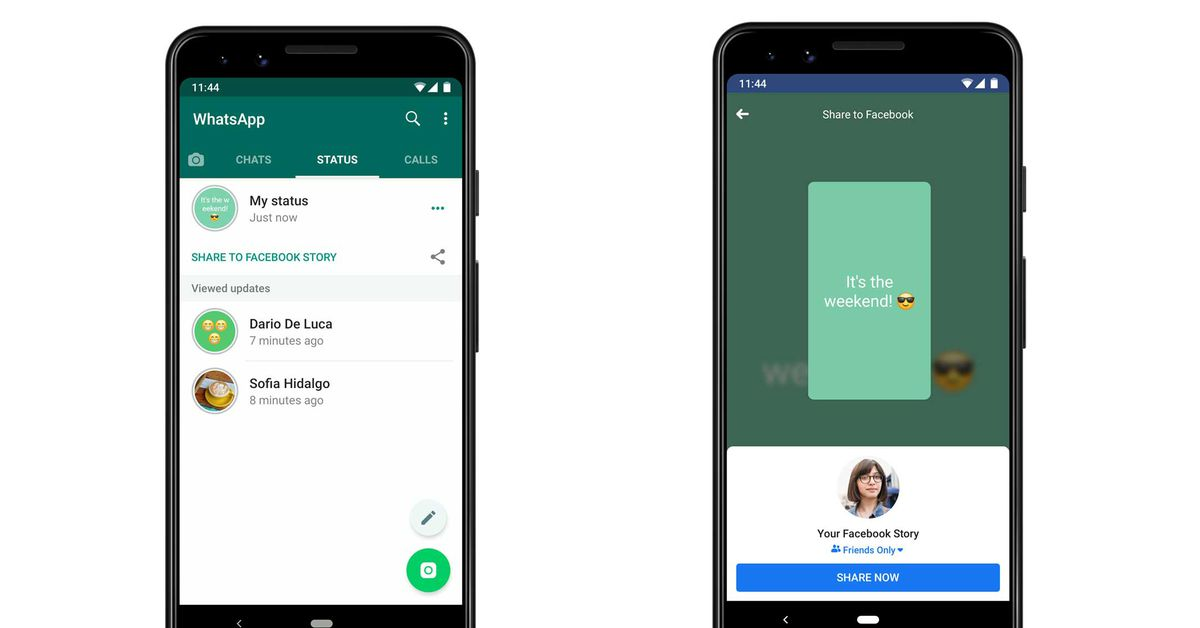 WhatsApp tests feature that shares your status to Facebook and other apps - The Verge