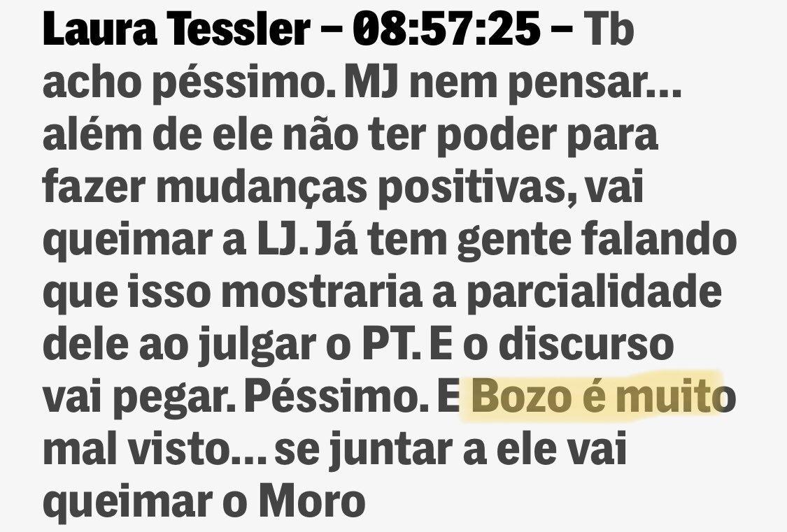 Se Laura Tessler já estava queimada com Moro, imagine agora que descobriram que ela chama Bozo, de Bozo?  #EuNãoConfioNoMoro