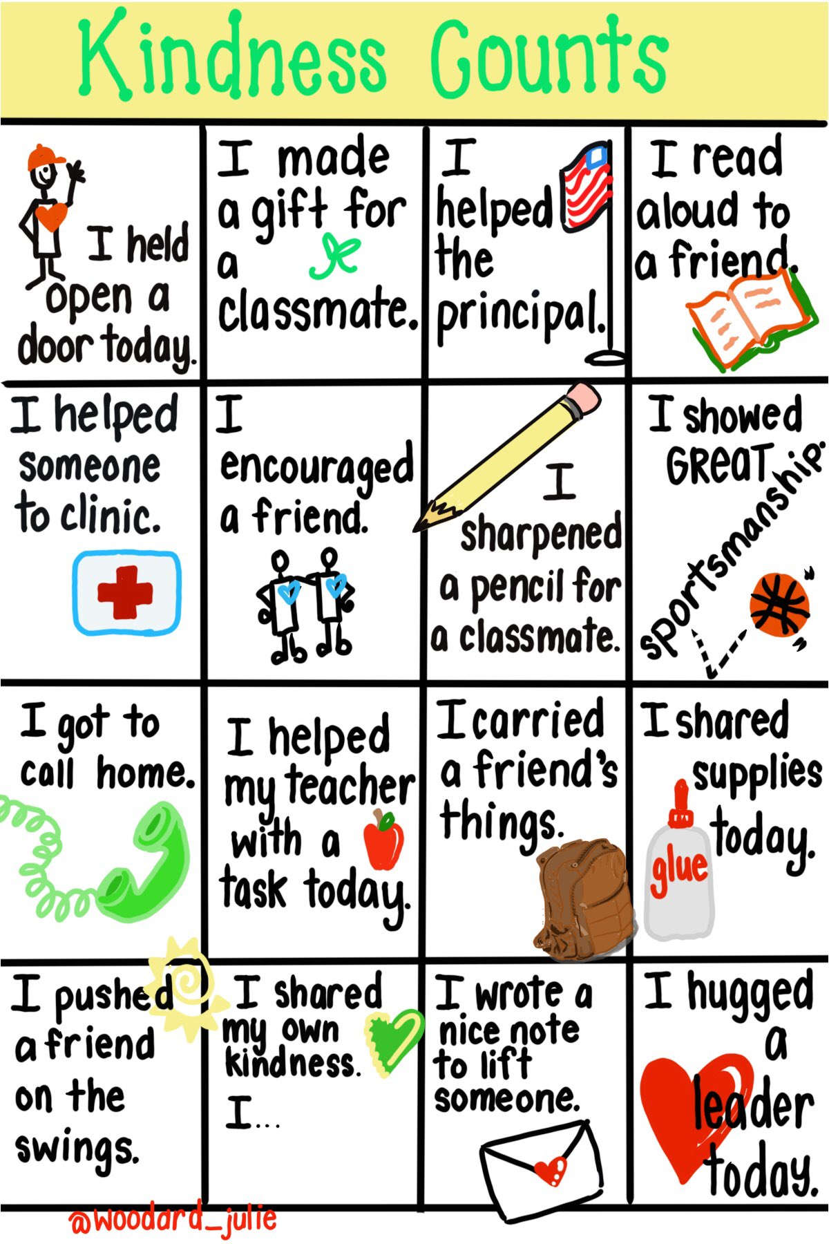 #Kindness bingo could be a fun idea to use with kids in the fall! Beautiful graphic by @woodard_julie #edchat #SEL #sketchnote https://t.co/NxXRCm5S2w
