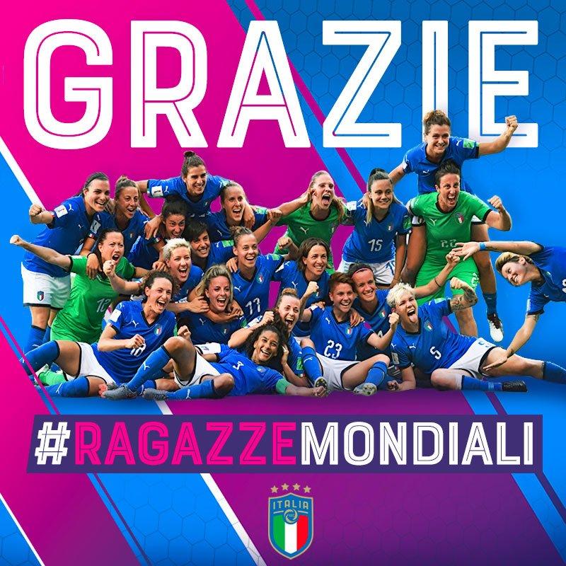 Grazie 🇮🇹 #RagazzeMondiali 💙 per il sogno che ci avete fatto vivere. Orgogliosi di voi!👏🏻👏🏻👏🏻  #FIFAWWC #ITANED https://t.co/mOCLnVFcTb