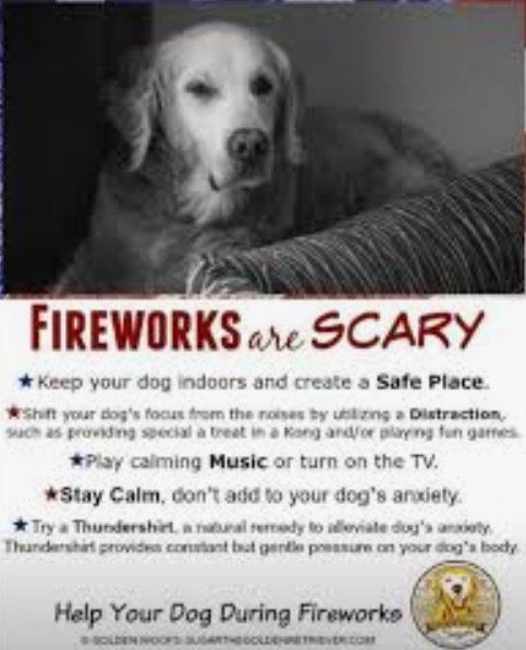 🎆EVERYONE loves Fireworks ✨        🚫  EXCEPT DOGS!! 🚫  Fireworks create anxiety for our four-legged family members.   More dogs are lost during this holiday week than any other time of year.   Keep your pets SAFE & SECURE..  & Happy #4thofJuly 🇺🇸   🐾   🐾    🐾    🐾 https://t.co/Y3Dh8QWu3q