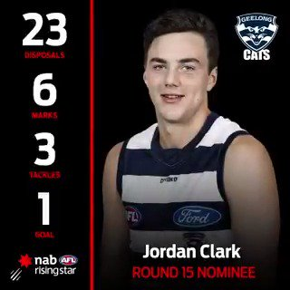 Jordan Clark set GMHBA Stadium alight under the Friday night lights and has earned himself a @NAB Rising Star nomination for Round 15!   Congratulations Jordy! 😺