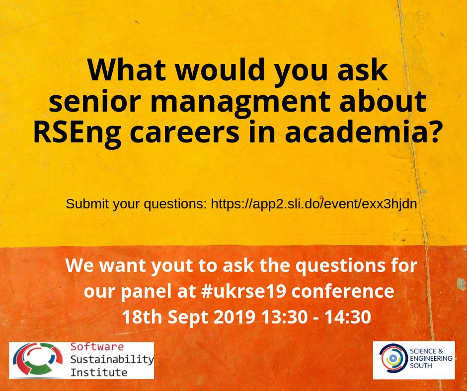 test Twitter Media - What support do you need for your #RSEng career in academia? Ask senior management what they think is the solution in our panel @RSEConUK #ukrse19.   Questions here please: https://t.co/zG1b9GWHcH   @SES_Consortium  @SoftwareSaved @ResearchSoftEng https://t.co/XWe5hsR0Kw