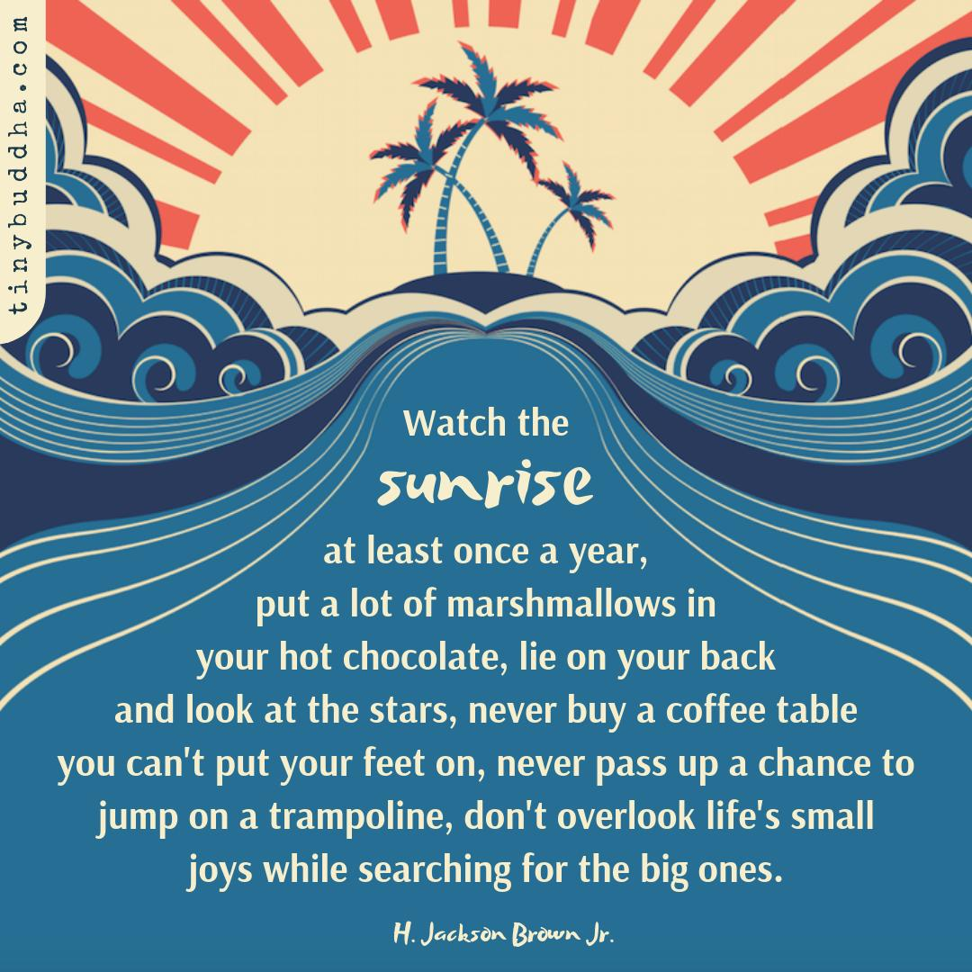 Watch the sunrise at least once a year, put a lot of marshmallows in your hot chocolate, lie on your back and look at the stars, never buy a coffee table you can't put your feet on, never pass up a chance to jump on a trampoline, don't overlook life's small joys... https://t.co/vAxw54IPas