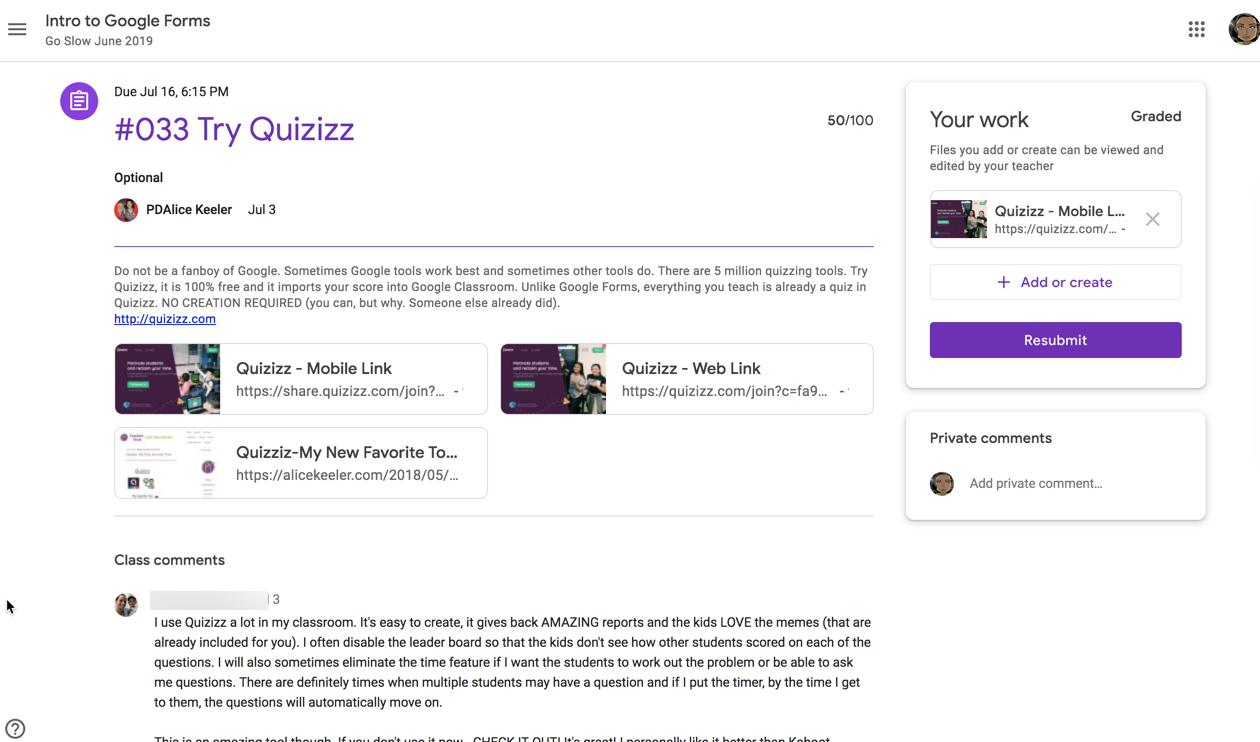 This new student layout in #googleClassroom is a winner! I love how the work and private comments are in side bubbles and now class comments are very visible. This is awesome!! Nice job. #googleEDU https://t.co/JimctT7BVt