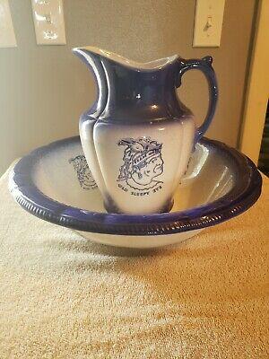 Antique Porcelain Pitcher and Wash Basin Bowl Set Blue/White Old sleepy eye...
