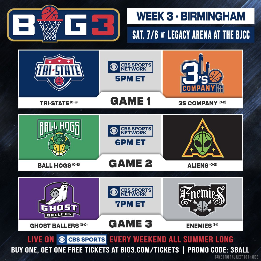 RT @thebig3: Today's matchups ???????????? — Tune In to @CBSSportsNet at 5PM ET #BIG3onCBS https://t.co/5WTBgDDgP8