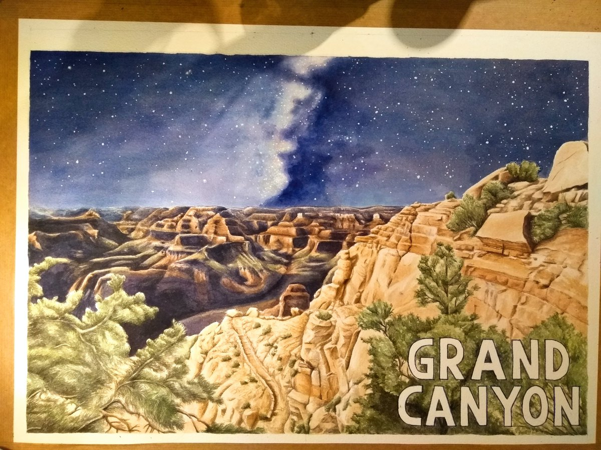 test Twitter Media - Pretty darn pleased with this watercolour of the Grand Canyon. It's not perfect (but psst don't forget no thing is ever perfect and that's a good thing) Process timelapse to follow soon. #watercolour #grandcanyon #starrysky https://t.co/Ayd64lGgCn