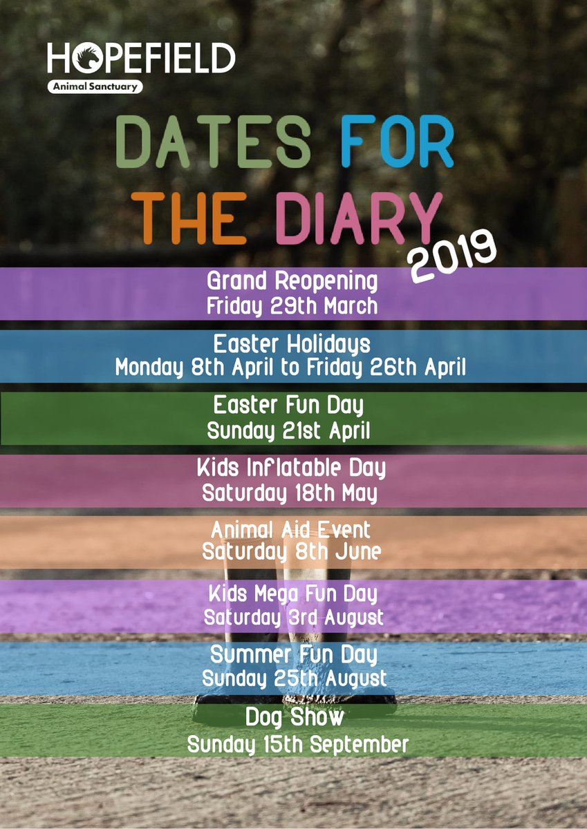 RT @Hopefield_Essex: Dates for the Diary 2019! ✨ https://t.co/9yTVj84YsA