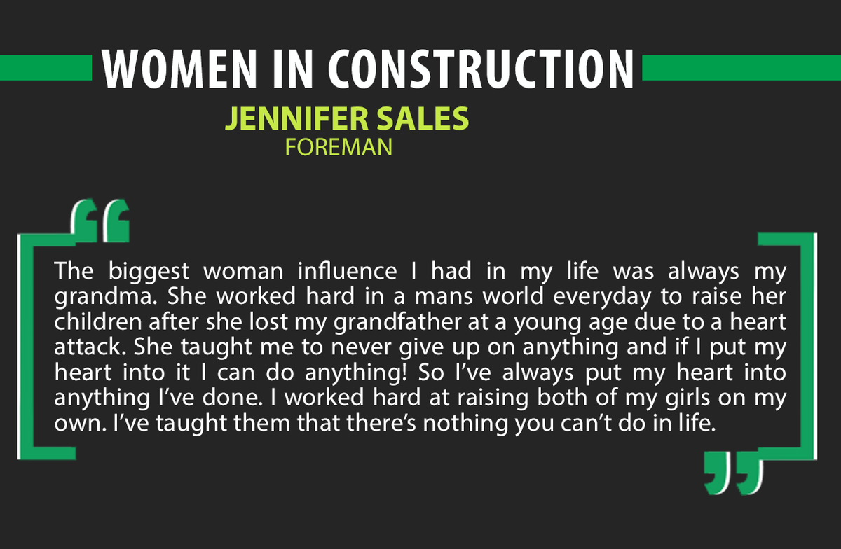 test Twitter Media - This week we celebrate women in construction. Jennifer Sales, Foreman, shares the woman that inspired her to be the person she is today. #WomenInConstruction #Women https://t.co/FDP0F99VDC