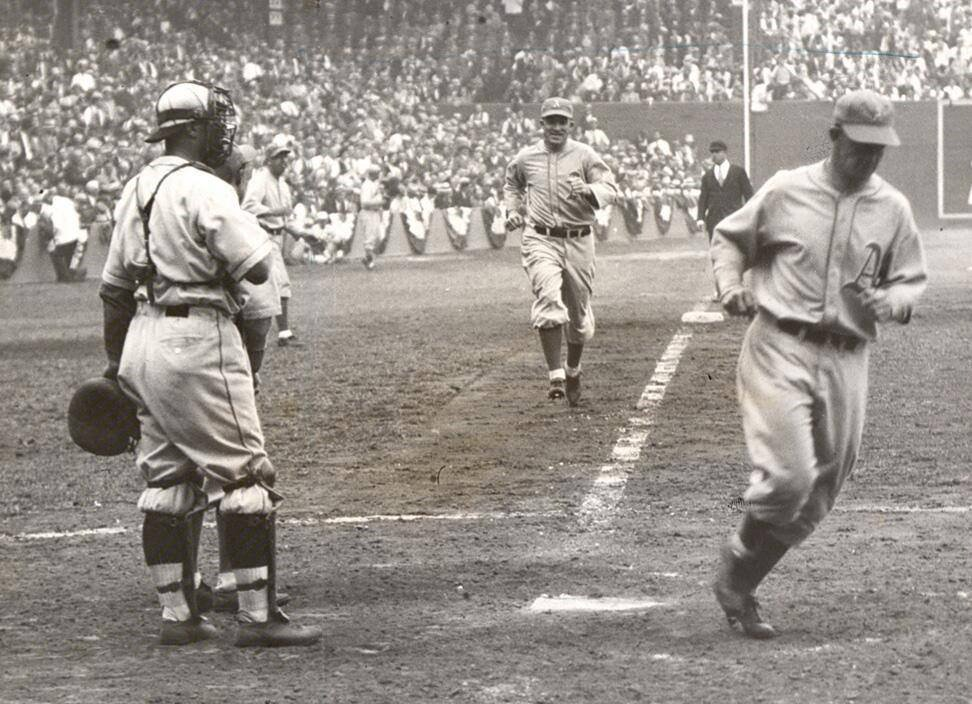 Sportsman's Park, St Louis, Oct 1, 1931 - Al Simmons is all smiles as his 7th inning 2-run HR puts his Athletics up 6-2 on Cardinals in securing Game 1 of 1931 World Series. However, St Louis would stun the defending champs and the baseball world by taking series in seven games https://t.co/5oa0ogPqd0